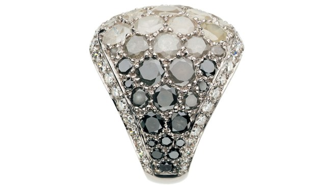 Icy diamond and black diamond ring by de Grisogono