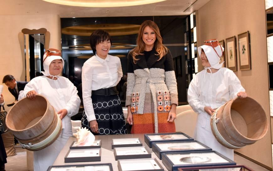 Melania Trump visit to the main Mikimoto pearl shop in Tokyo