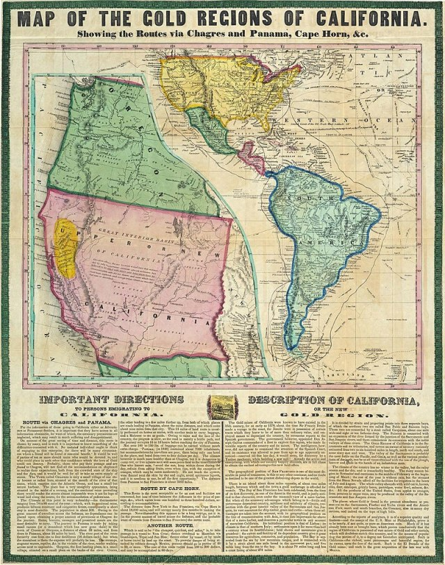 Map of the Gold Regions of California, Showing the Routes via