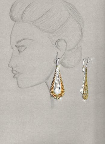 Morning Glory earrings by Divyashree Mallandur Nagaraj of Dubai,United Arab Emirates, Sponsored by 55 Fifty 7 Jewellery LLC